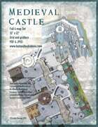 Medieval Castle Battle Map Full Four-Map Set with Roof Maps