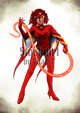 Character Stock Art: Superhero Red Lady with Whip