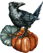 Crow and Pumpkins - RPG Stock Art - Filler Spot Colour