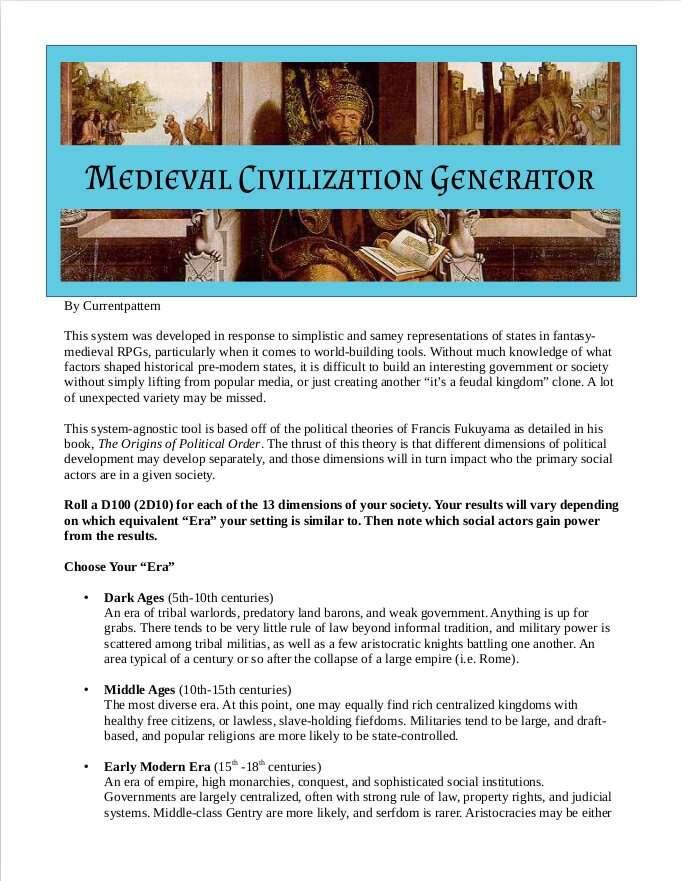Medieval Civilization Generator Currentpattern Drivethrurpg Com