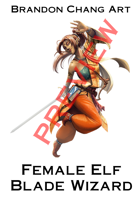 Fantasy Character Stock Art: Female Elf Blade Wizard