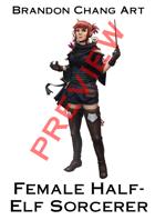Fantasy Character Stock Art: Female Half-elf Sorcerer