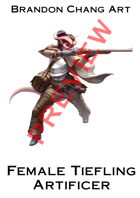 Fantasy Character Stock Art: Female Tiefling Artificer