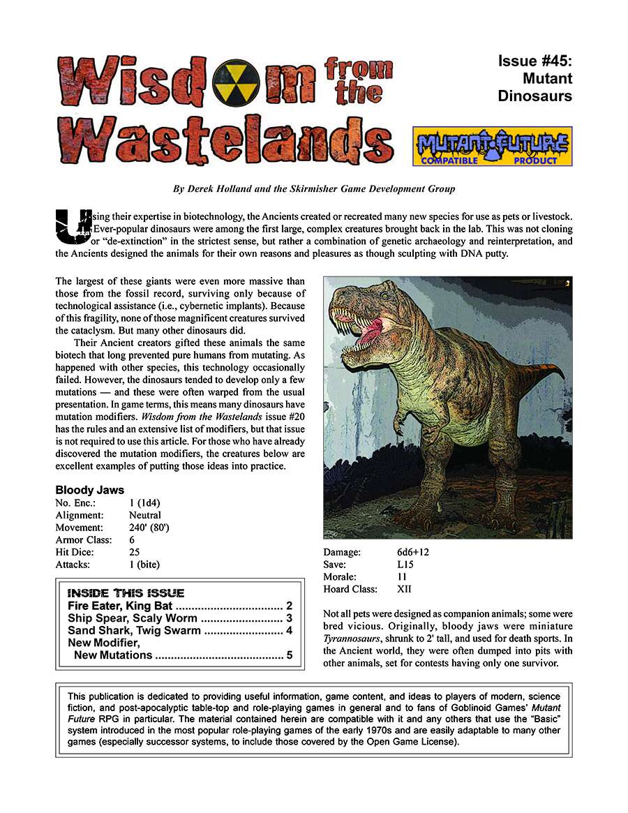 Wisdom from the Wastelands Issue #45: Mutant Dinosaurs