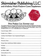 Skirmisher Publishing/d-Infinity Print Product List (Summer 2015)