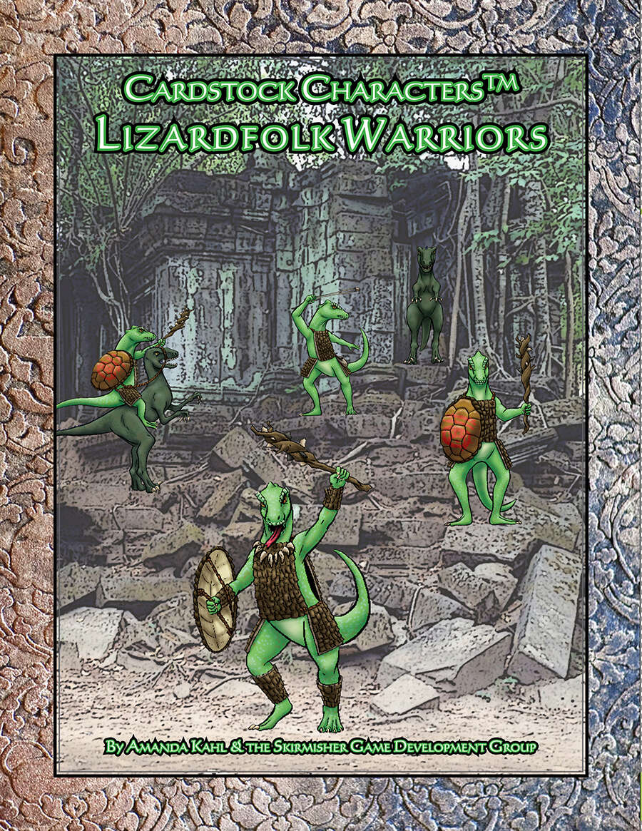 Lizardfolk Warriors (Little Orc Wars/Cardstock CharactersTM)