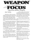Weapon Focus: Improvised Modern Weapons