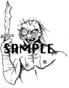 Zombie with Knife Art / Clipart