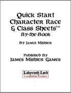 Quick Start Character Race & Class Sheets: BtB