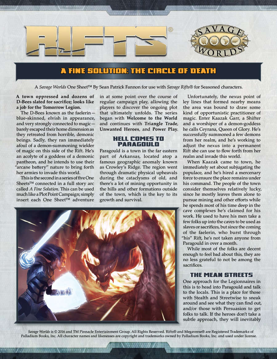 Savage Rifts: A Fine Solution Part 2 - The Circle of Death