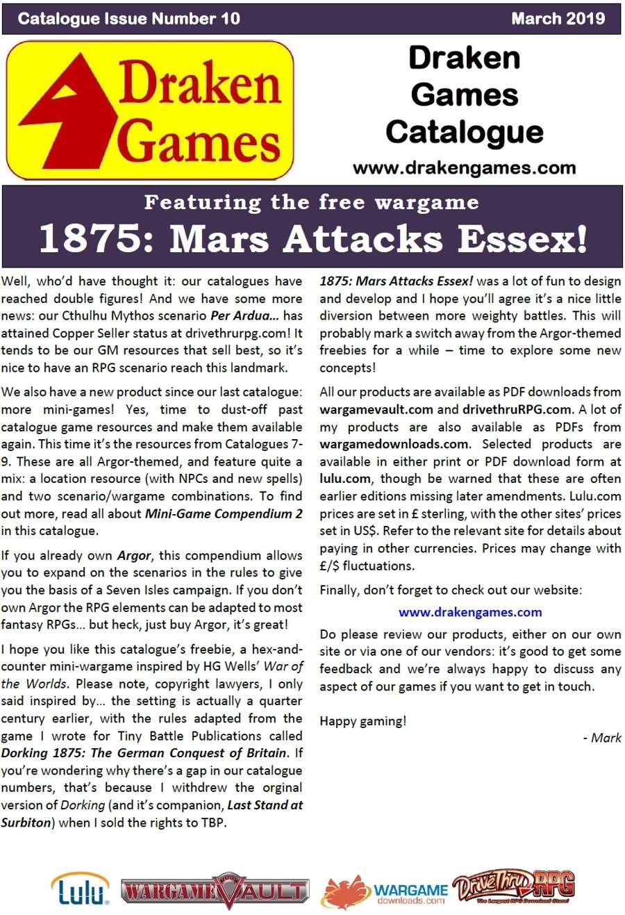 Draken Games Catalogue 10 + Free mini-game - Draken Games   Wargame