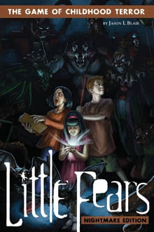 Little Fears Nightmare Edition cover depicting three children in a dark room with a flashlight, surrounded by monsters.