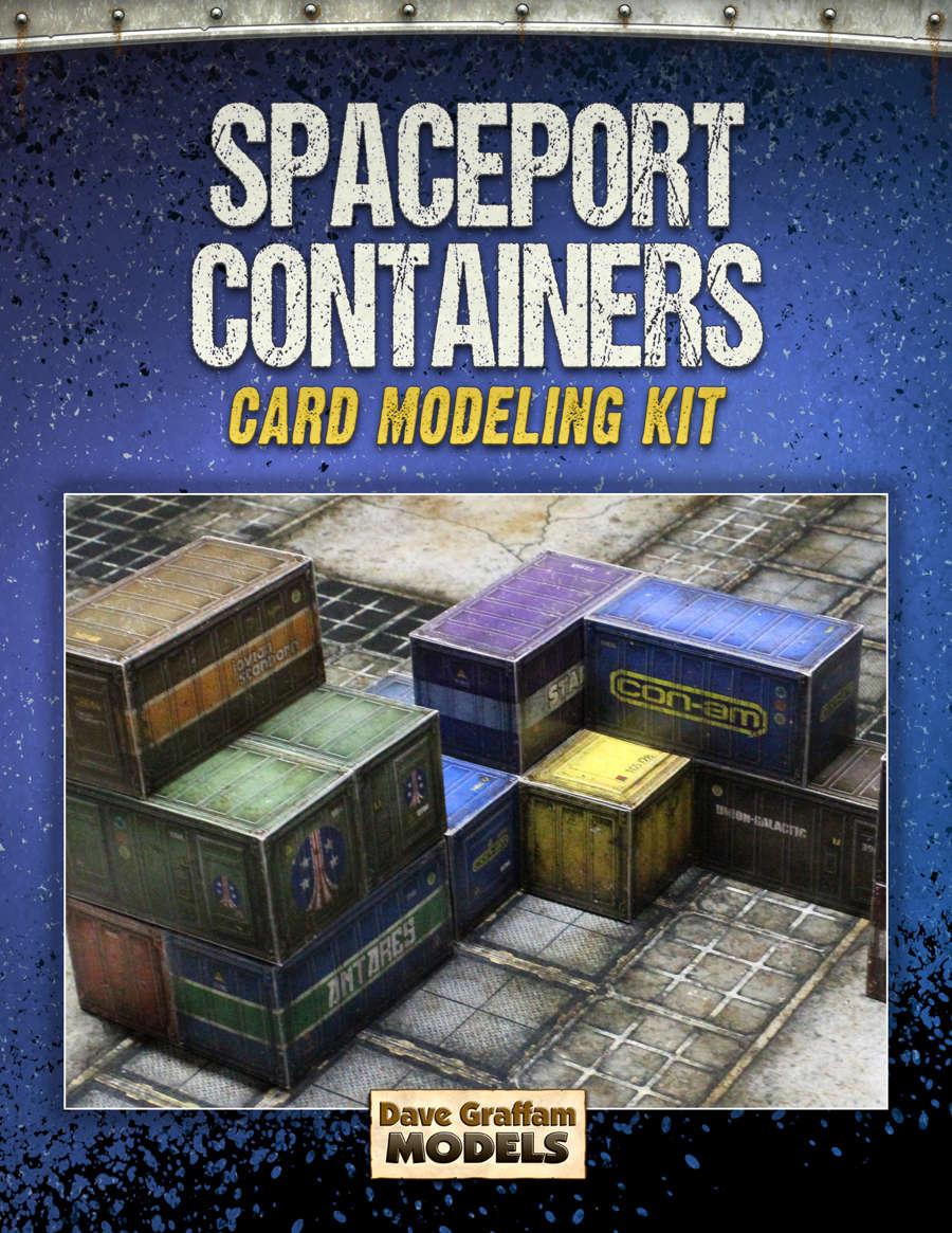Spaceport Containers Card Models Kit - Dave Graffam Models   Sci-Fi    DriveThruRPG com