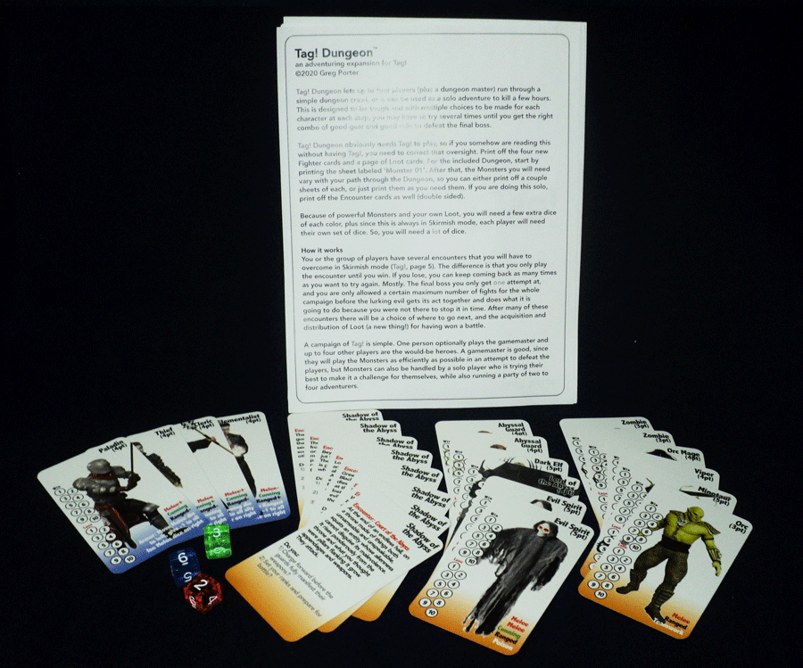 Tag! Dungeon rules & cards