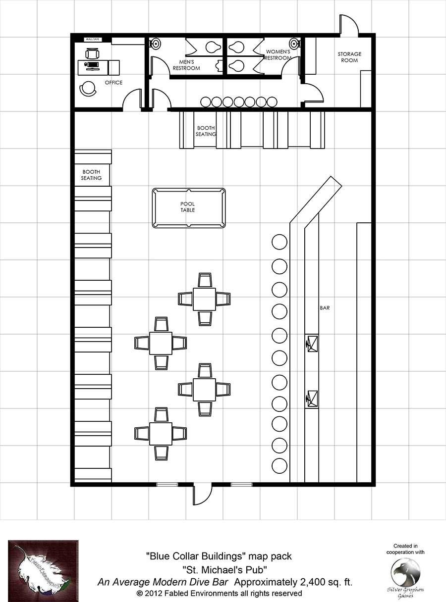 Modern floorplans st michael 39 s pub an average modern for Nightclub floor plans