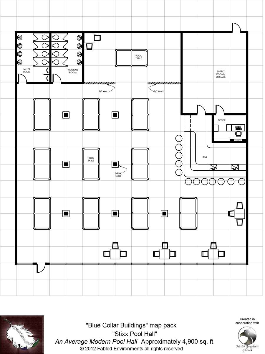 Modern floorplans an average modern pool hall fabled for Irish mail cart plans