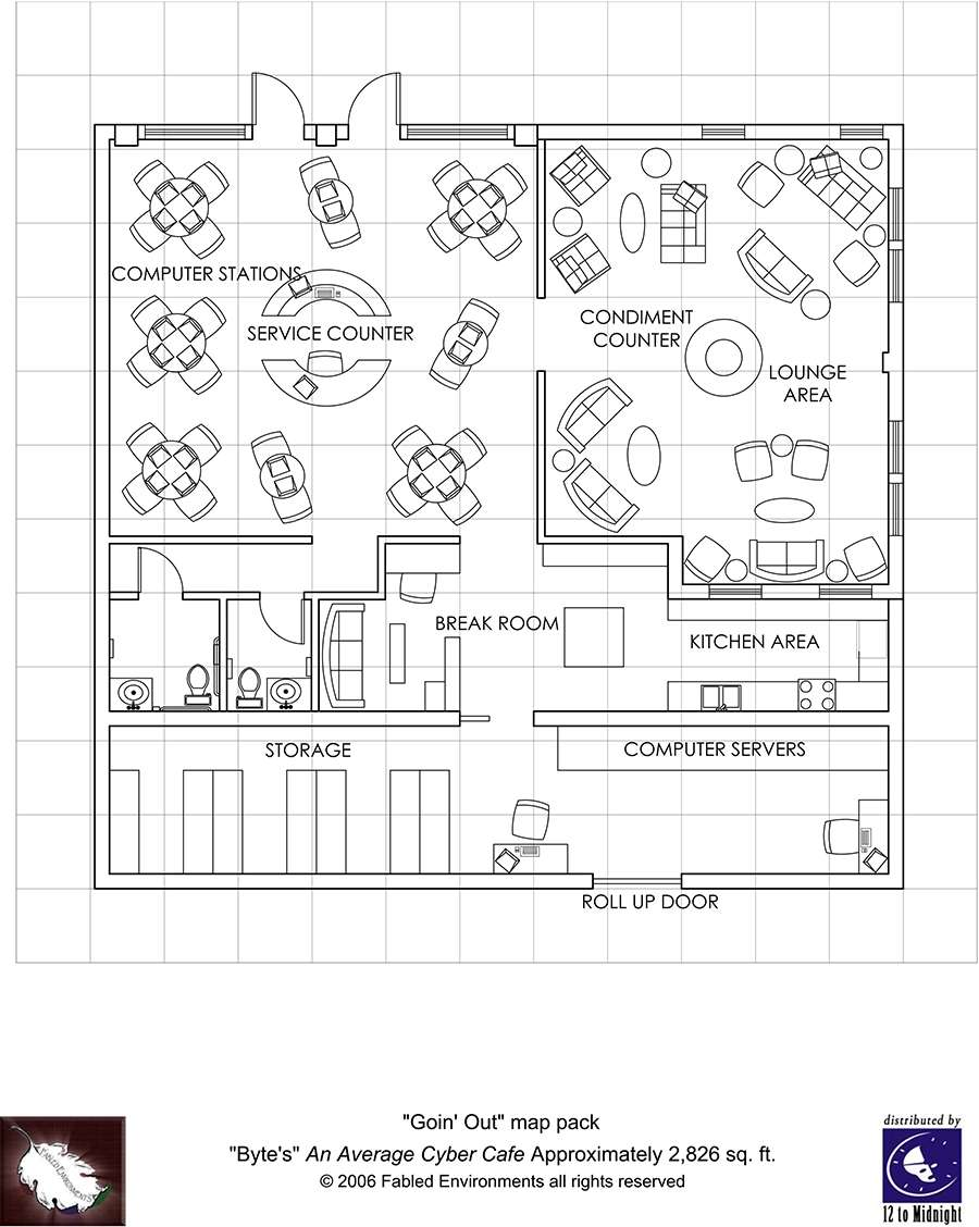 Modern Floorplans CyberCafe on commercial door diagram