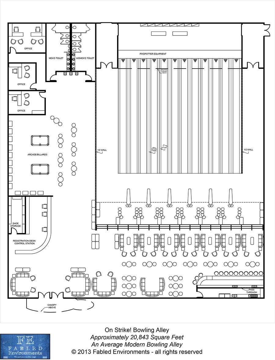 Modern Floorplans An Average Modern Bowling Alley