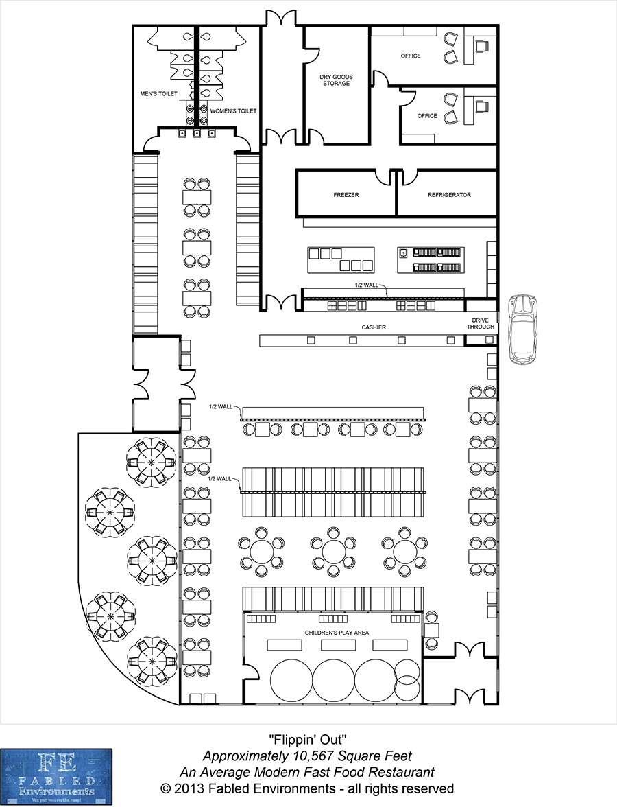 Modern floorplans an average modern fast food restaurant for Average house floor area