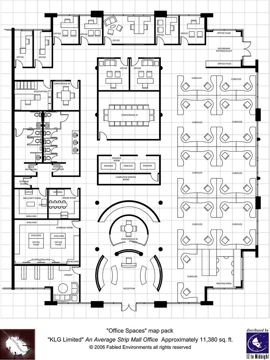 Modern floorplans single floor office fabled for Two story office building plans