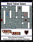 Blue Mosaic Dungeon: Doors and Stairs (4 square Hallways)
