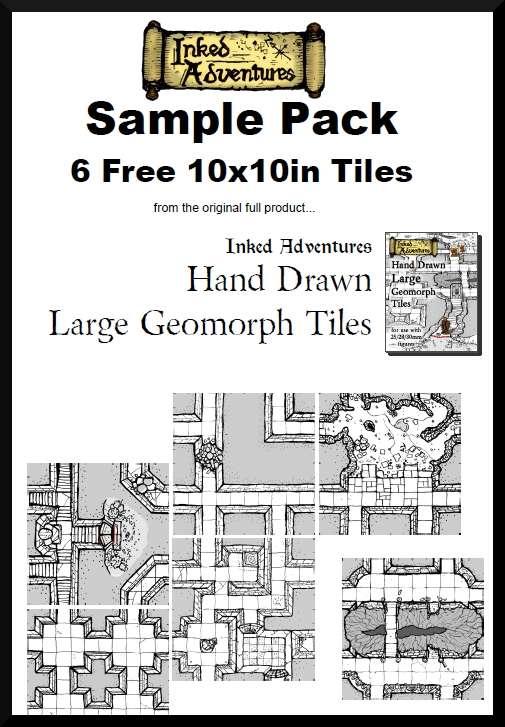 6 Free Sample Hand Drawn Large Geomorph Tiles