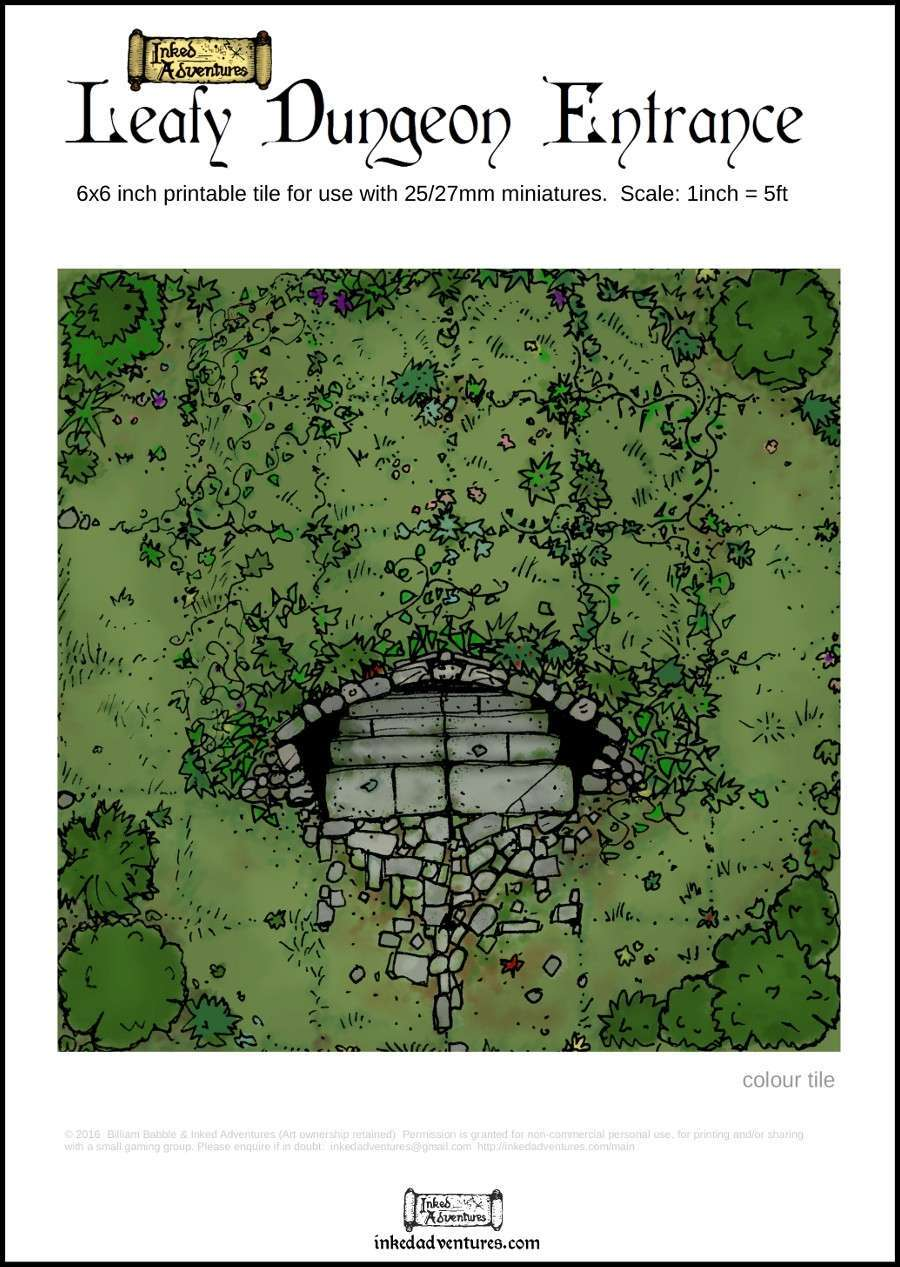 Leafy Dungeon Entrance 6x6 Printable Tile