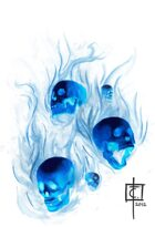 Stock Art: Flaming Skulls