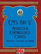 GM's Aid V: Monster Knowledge Cards Volume 3 - Pegasus to Zombie
