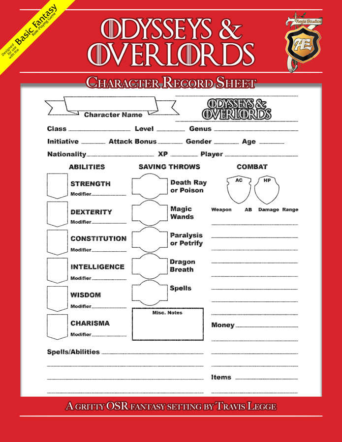 Odysseys & Overlords Character Record Sheet