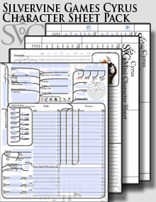 Silvervine Games Cyrus Character Sheet Pack
