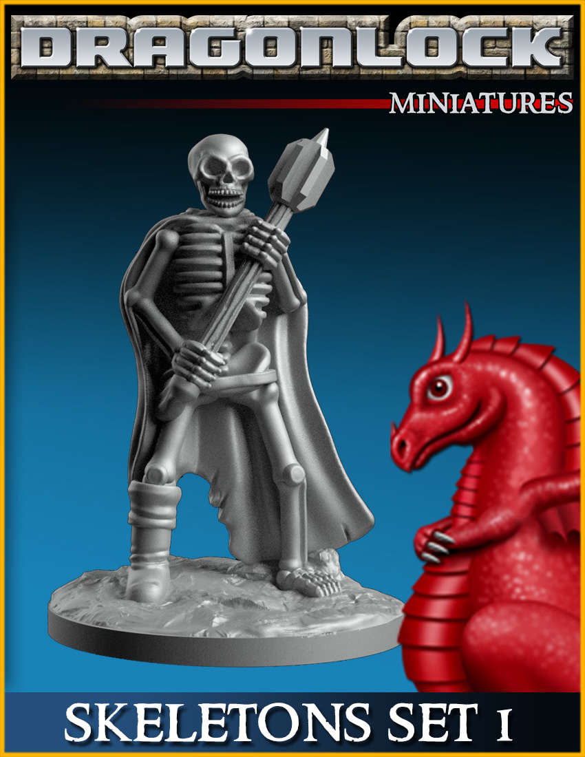 ideal for Dungeons and Dragons and other Tabletop RPGs Skeleton 3D Resin Printed Model
