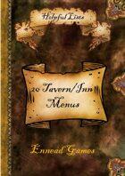 20 Tavern/Inn Menus