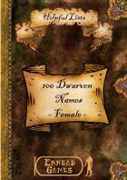 100 Dwarven Names - Female