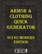 Armor & Clothing Quick Generator - SciFi/Moden Edition