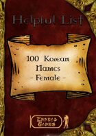 100 Korean Names - Female