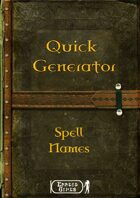 Quick Generator - Spell Names