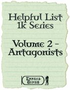 Helpful List 1K Series - 2 - Antagonists