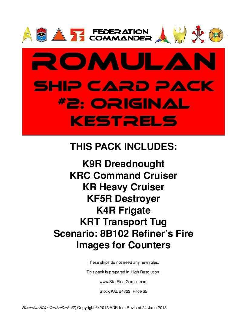 Federation Commander: Romulan Ship Card Pack #2