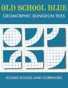 Old School Blue Geomorphic Tiles - Round