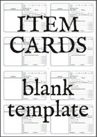 Item Cards (Blank Printable)