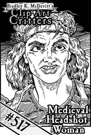 Clipart Critters 517 Medieval Headshot Woman Postmortem Studios