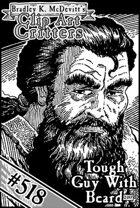 Clipart Critters 518- Headshot Tough Guy With Beard