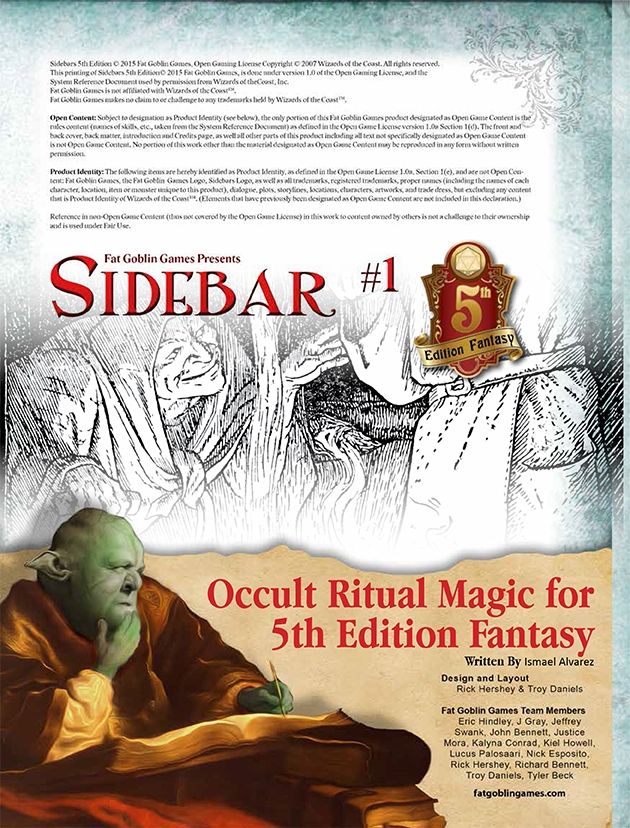 Sidebar #1 - Occult Ritual Magic for 5th Edition Fantasy