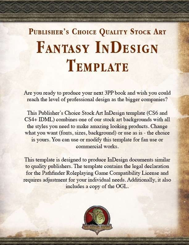 Publisher\'s Choice - Fantasy InDesign Template - Fat Goblin Games ...