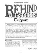 Behind the Spells: Teleport