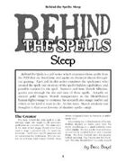 Behind the Spells: Sleep