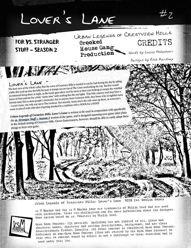 vs  Stranger Stuff: Season 2 - Urban Legends of Crestview Hills: Lover's  Lane - Fat Goblin Games | VsM Engine | DriveThruRPG com