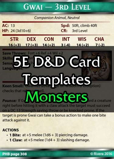 Tintagels 5e Monster Card Template Creative Gremlins