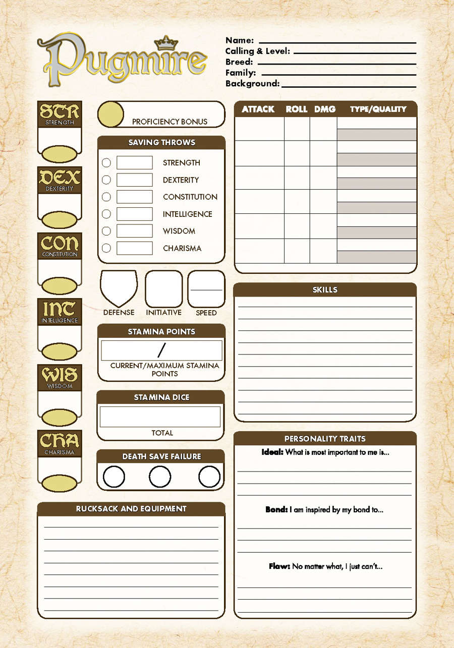 Pugmire Interactive Character Sheet - Onyx Path Publishing | Pugmire
